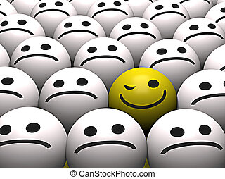 Winking smiley - A winking yellow smiley stands out from the...