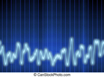 audio or sound wave - great image of a blue audio or sound...