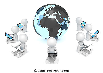 Global Network. - 3D little human character X9 sitting, with...
