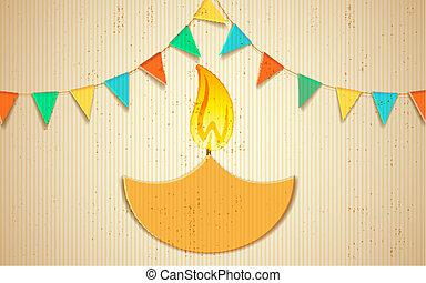 Decorated Diya - illustration of burning decorated diya on...