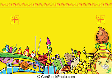 Diwali Doodle - illustration of Diwali doodle with different...