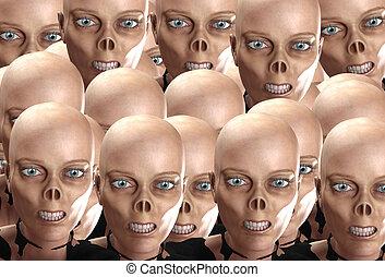 Many Zombies - Many zombie heads together like a zombie...