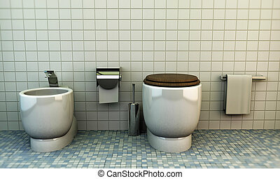 toilette - modern toilette with white ceramics