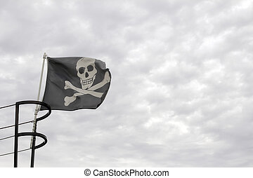 Pirate Ship Skull with Crossbone Flag - Pirate Ship Jolly...