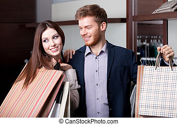 Married couple is in the shop - Married couple does shopping