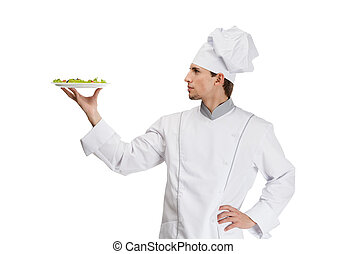 Portrait of chef cook with salad dish, isolated on white