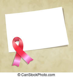 Pink ribbon note vector illustration