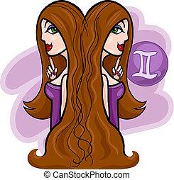 women cartoon illustration gemini sign - Illustration of...