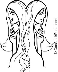 woman gemini sign for coloring - Illustration of Beautiful...