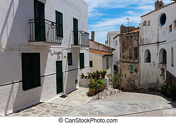 Street in Cadaques, Costa Brava, Catalonia, Spain - White...