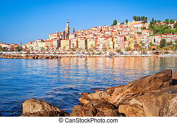 Provence village Menton ocean view, Provence, France