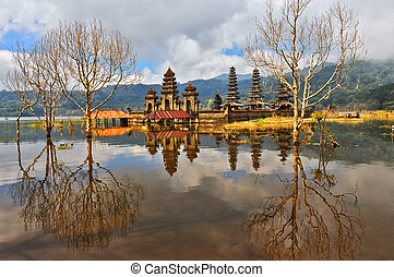 Balinese temple on Tamblingan lake, Indonesia, Bali