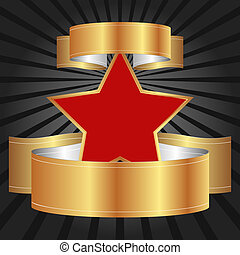 black background - red star with gold ribbons on black...