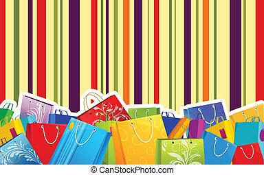 Colorful Shopping Bag - illustration of different shopping...