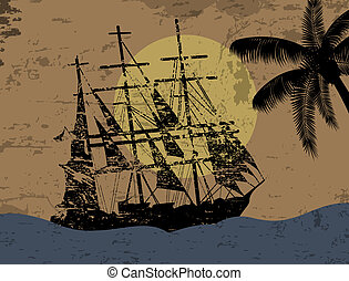 Grunge background with pirate ship