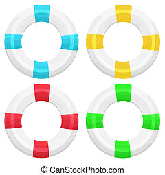 Set of four lifebuoy in different colors on white...