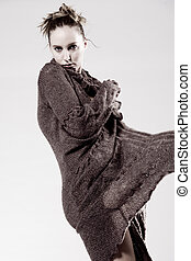High fashion model posing fragile - Studio portrait of a...