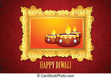 Diwali Diya - illustration of decorated Diwali diya on...