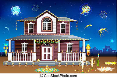 Decorated house in Diwali night - illustration of house...