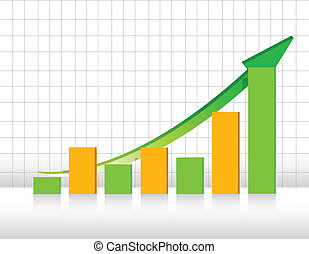 green and orange business graph