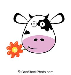 cow head with a flower vector illustration