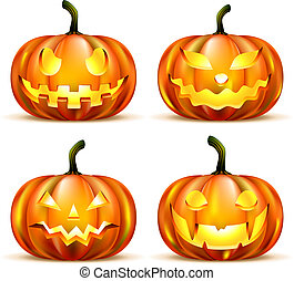 Jack Lantern Pumpkins isolated on white. Vector...