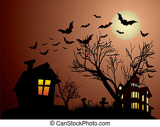 Halloween with haunted house, bats and cats