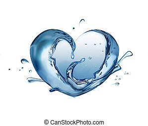 water heart - Water heart on white background