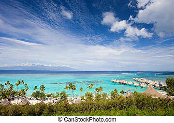 Moorea island coastline - Beautiful coast and over water...