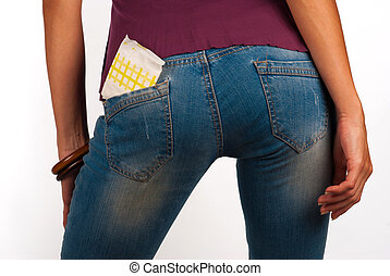 Sexy panty liner - Panty liner sticking out of sexy jeans...