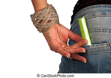 Tampon - Ready to use tampon in a jeans pocket