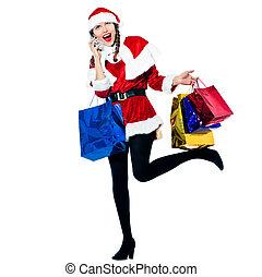 mujer, santa, Claus, navidad, compras, teléfono,...