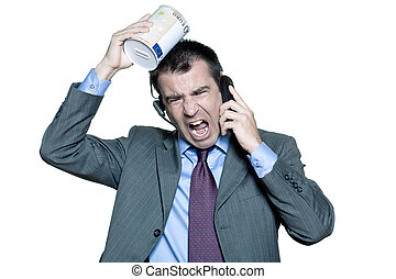 Portrait of businessman with moneybox shouting on phone -...