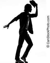 hip hop funk dancer dancing man - full length silhouette of...