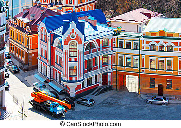 Beautiufl colored buildings in Kiev taken in Ukraine, spring...