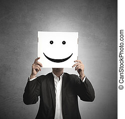 Optmist businessman - Businessman holds a paper with a smile