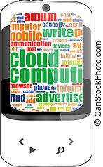 Touchscreen smart phone - social word cloud