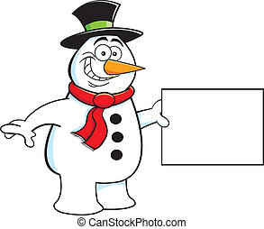 Cartoon Snowman Holding a Sign