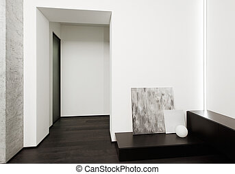 Modern minimalism style hall interior in black and white...
