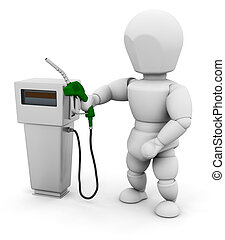 Person with fuel pump - 3D render of someone with a fuel...