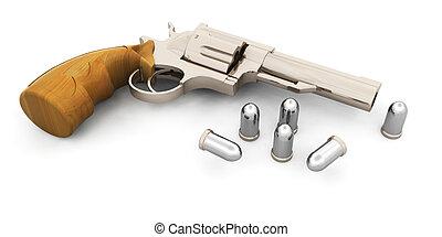 Handgun - 3D render of a handgun with bullets
