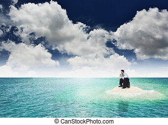 A businessman get stuck on island A concept of businessman...