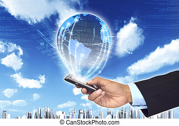 A concept of how a smart phone can connect a businessman to a worldwide information netwrok. With futuristic city background