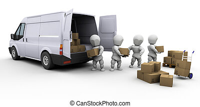 Teamwork - 3D render of a team of people unloading a van