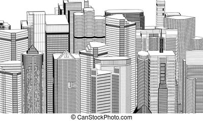 Wire frame cityscape, seamless loop