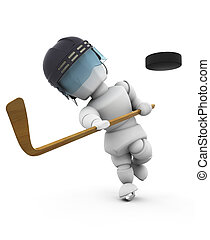 Ice hockey player - 3D render of an ice hockey player