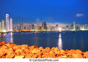Panama City, city center skyline and Bay of Panama, Panama,...