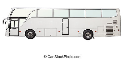 isolated white color bus, side view