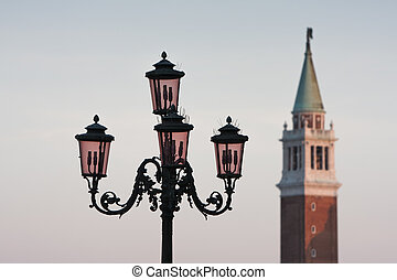 Venice campanile tower with street lamp - Venice Italy...