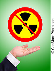 Conceptual image, caring for radioactive usage. Business man...